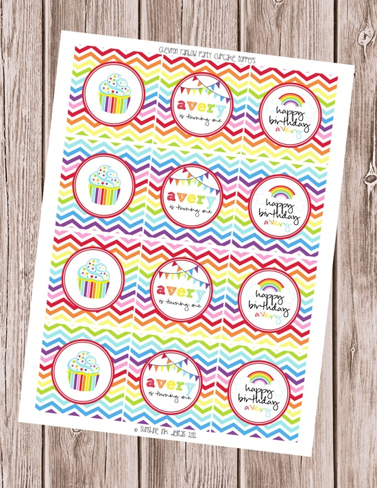 Chevron Rainbow Birthday Party Personalized Cupcake Toppers. $8.00, via Etsy.