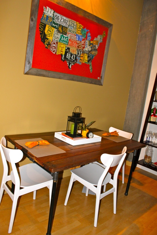 DIY Kitchen Table with pipes and wood