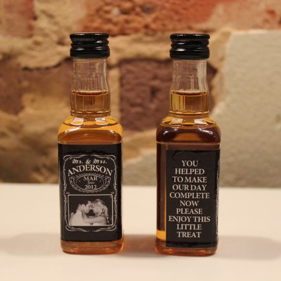 $49.95 100 Custom Jack Daniels Mini Bottle Labels Wedding Favors. such a good idea!