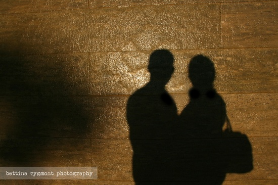 Engagement shooting - shadows on a wall