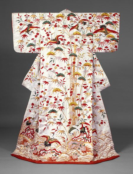 Outer robe (uchikake) with theme of Mount Hôrai, Edo period (1615–1868), second half of 18th–first half of 19th century  Japan  Silk and metallic thread embroidery on silk satin damask with stencil-dyed details