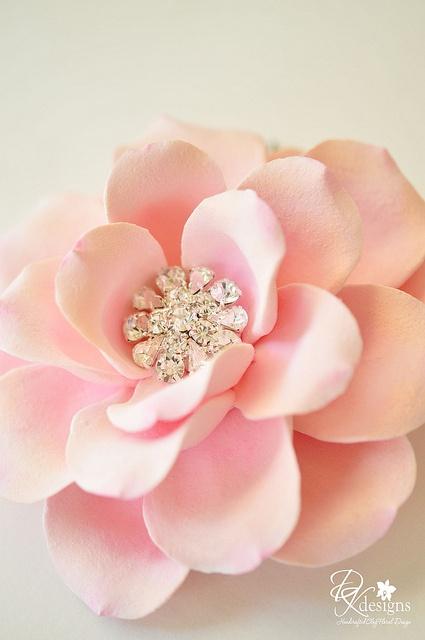 Pink rose rhinestone