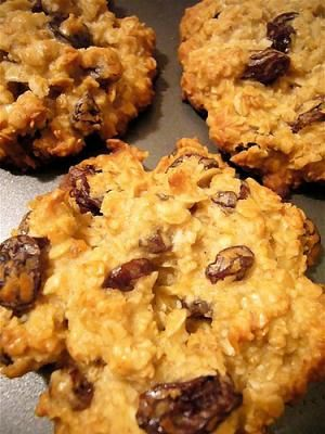 Breakfast Cookies: 3 mashed bananas (ripe), 1/3 cup apple sauce, 2 cups uncooked quick-cooking oats, 1/4 cup skim milk, 1/2 cup raisins (or any other dried fruit of choice), 1 tsp vanilla, 1 tsp cinnamon & 1 tbsp sugar or other sweetener.  Preheat oven to 350 degrees. Mix all ingredients in a bowl really well. Let this mixture stand for at least 5 minutes to let the oats become good & hydrated. Heap the dough by teaspoonfuls onto a greased cookie sheet. Bake for 15-20 minutes & let cool.
