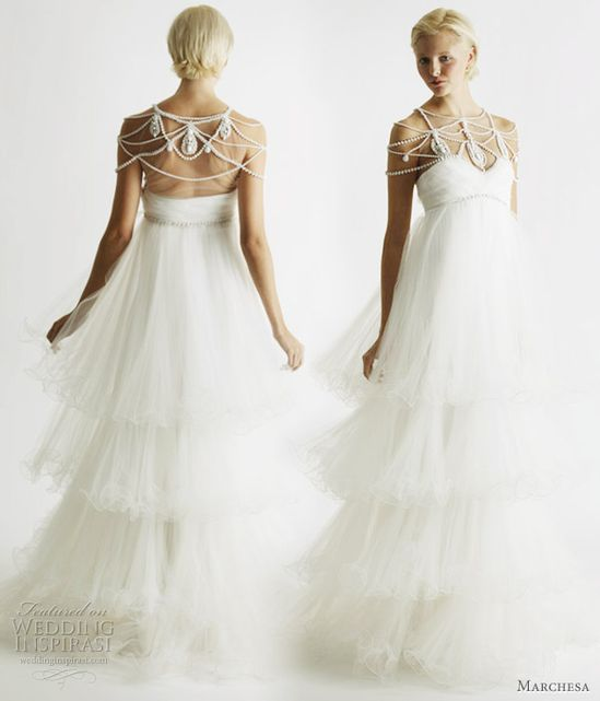 Tiered ruffle wedding dress from Marchesa Bridal Spring 2011 collection