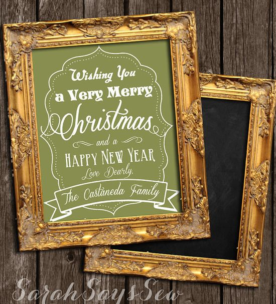 Christmas Decor - Reversible Chalkboard Sign - Very Merry Christmas, Happy New Year - Personalized Christmas Decor