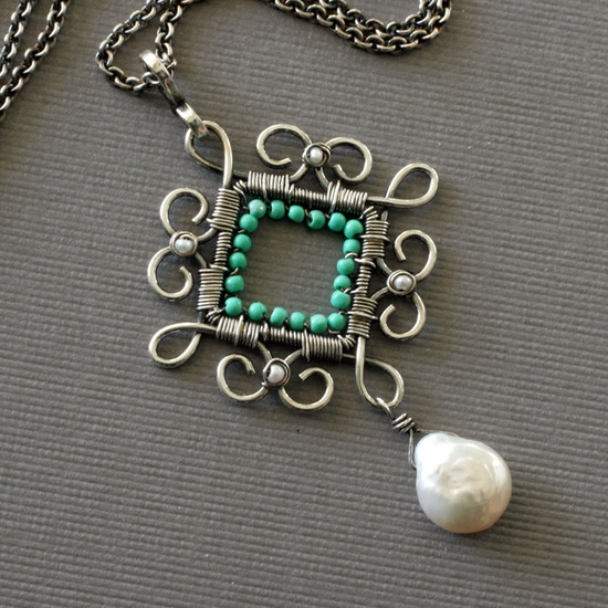 Love this!  Turquoise and pearl wire worked pendant