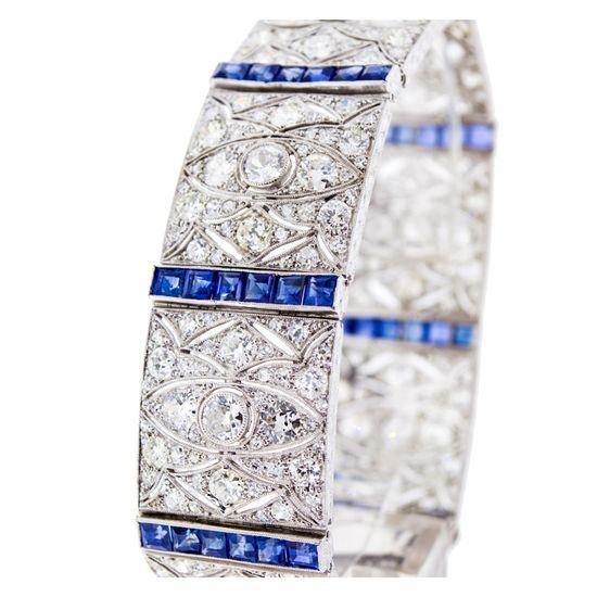 18K White Gold, Art Deco Diamond & Sapphire Bracelet, ca 1930.