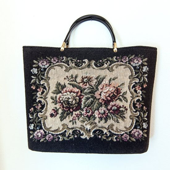 Vintage 1960s Hand Bag - Black Floral Tapestry Needlepoint Carpet Bag Purse Tote Bag Large