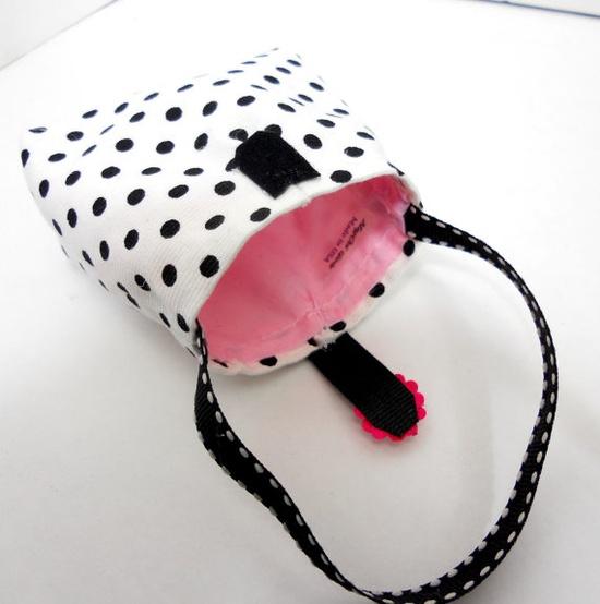 american girl doll purse handbag black polka dots by MegOrisDolls,