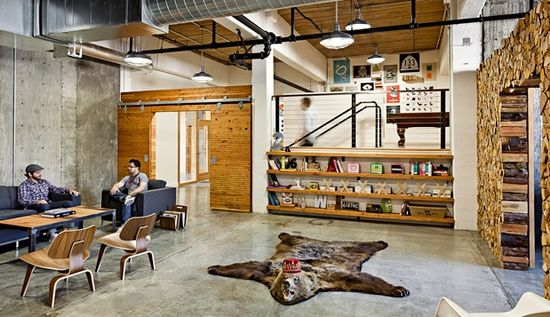 Parliament Designs embraces rustic, log cabin charm in its Portland office. (Designers: Casey Wycoff & Jessia Helgerson)