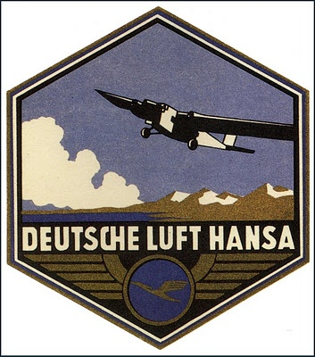 Deutsche Lufthansa ~ Vintage Luggage Label,  1924 -1952