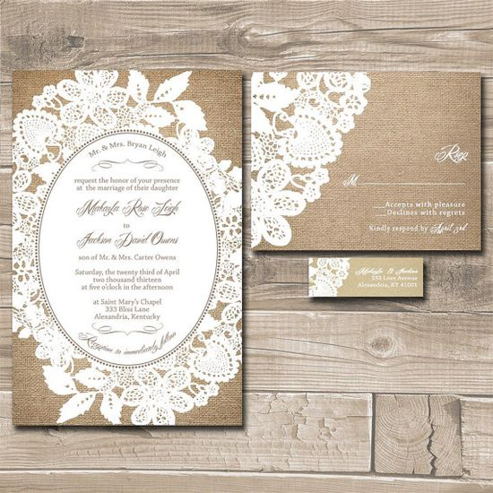 Lace Wedding Invitation Suite - Burlap and Lace - Custom Wedding Invitations - Sample on Etsy, $1.00