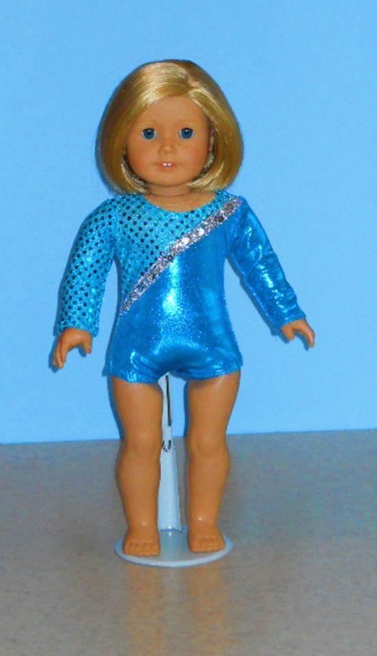 American Girl Doll Clothes - Aqua Gymnast Leotard with Silver. $12.00, via Etsy.