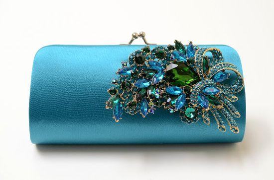 Rhinestone Bridal Clutch in Teal - Bridesmaid Clutch - Formal Clutch - Peacock Color Rhinestone Clutch - Something Blue. $65.00, via Etsy.