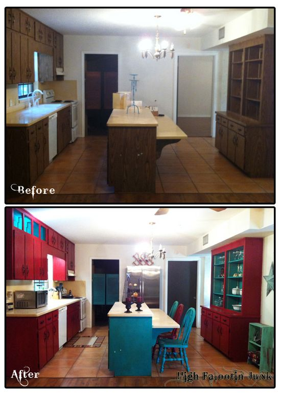 HFJ Ranch Kitchen Before and After. Makeover using Chalk Paint™ Decorative Paints and Wax. How To Guide