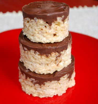 Rice Krispie Treats with Chocolate Peanut Butter Topping