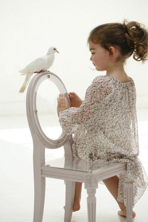 cute baby and bird