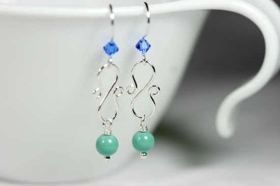 Blue Green Earrings Wire Wrapped Jewelry by JessicaLuuJewelry, $20.00