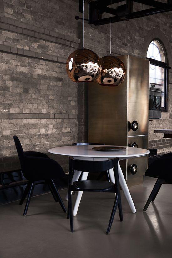 ? Modern interior design industrial brass kitchen with rustic brick wall