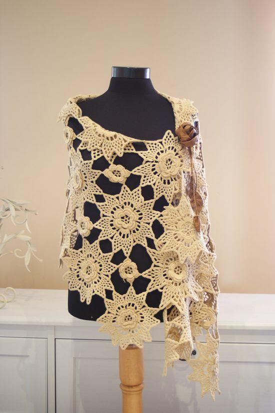 Ivory Floral Crochet Shawl Stole Wrap/Women by KoriTuEfrati, $290.00