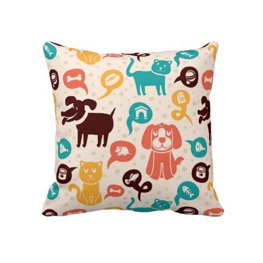Pattern With Funny Cats And Dogs Pillow