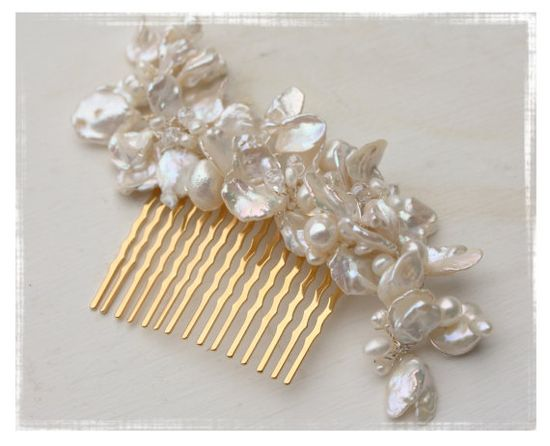 Bridal Hair Accessory Keshi Pearl and crystal comb