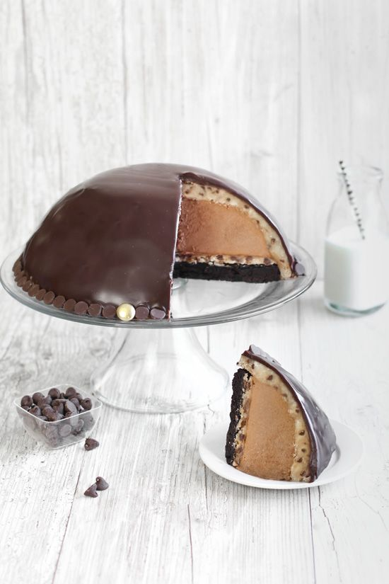 Chocolate Mousse Cookie Dough Bombe - Easier than it looks and what a way to impress!