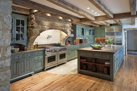 Love the space and style of this kitchen.. would love it with white wash kitchen cabinets though and It would be perfect!!