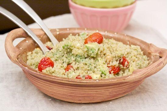 quinoa salad with roasted tomatoes, avocado, and pesto #recipe