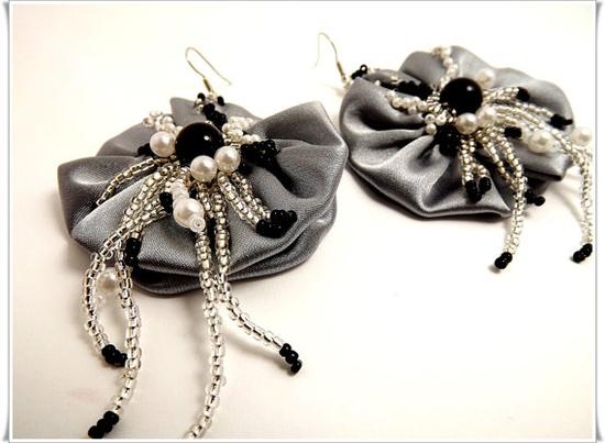 Fabric flower earrings bead embroidered earrings by Zigettasstyle, $38.00
