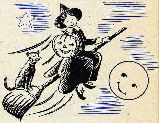 Such a sweet, adorable Halloween illustration from 1949 of a darling little witch and her faithful black cat riding on a broomstick past the (smiling) moon. #witch #1940s #forties #Halloween #vintage #illustration #retro #cute #cat