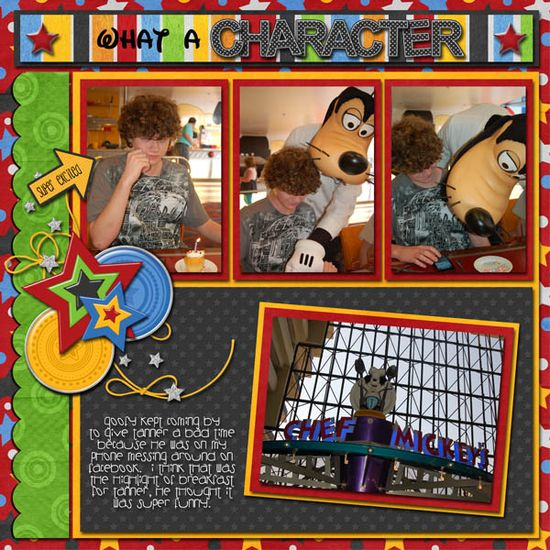 "Disney scrapbook layout ""What a Character!"""