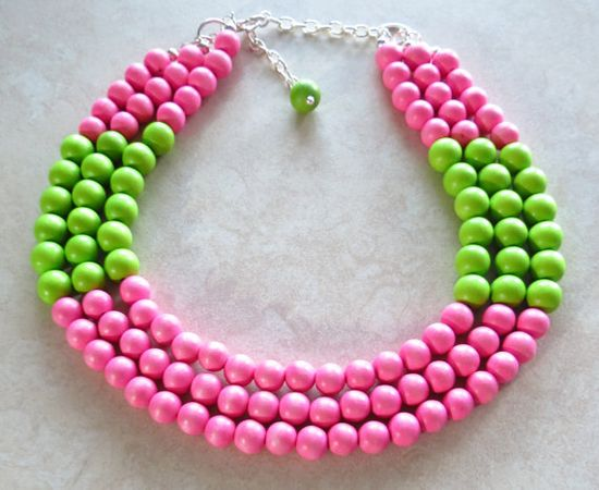 Pink and green bead necklace