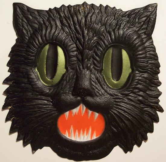 Vintage diecut black cat head
