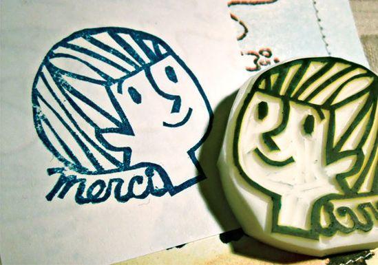 MERCI hand carved rubber stamp - handmade rubber stamp - boy - vintage book inspired