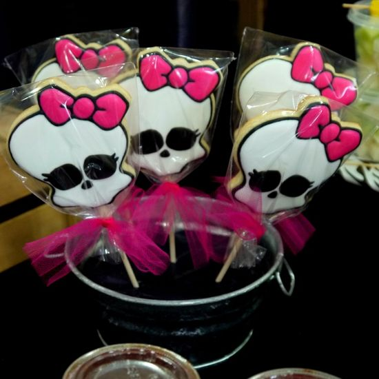 Fun decorated cookies at a Monster High girl birthday party!   See more party ideas at CatchMyParty.com!  #monsterhigh #partyideas