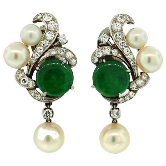 Art Deco Jade, Diamond, Pearl & Platinum Earrings, circa 1930's