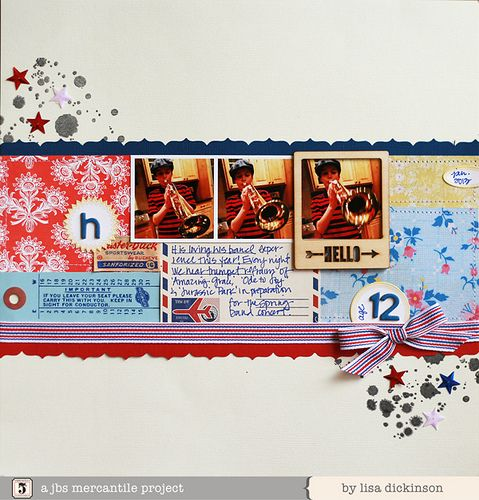 #papercraft #scrapbook #layout by Lisa Dickinson with June Mercantile Papercrafting kit