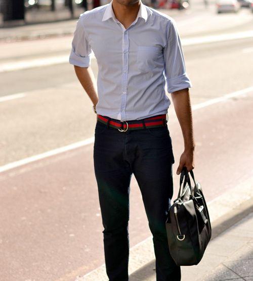 button down shirt jeans bag...contrasting belt