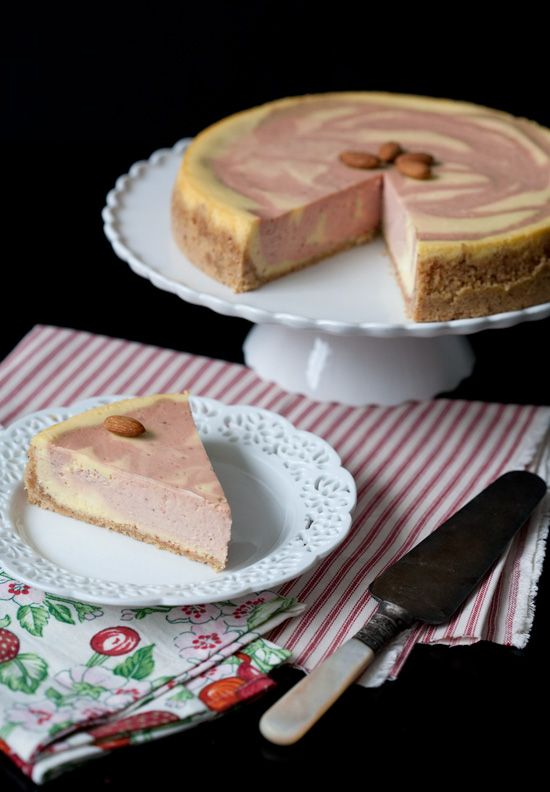 Lusciously silky Strawberry Almond Goat Cheese Cheesecake. #food #cheesecake #dessert #strawberry #almond #goat #cheese #baking