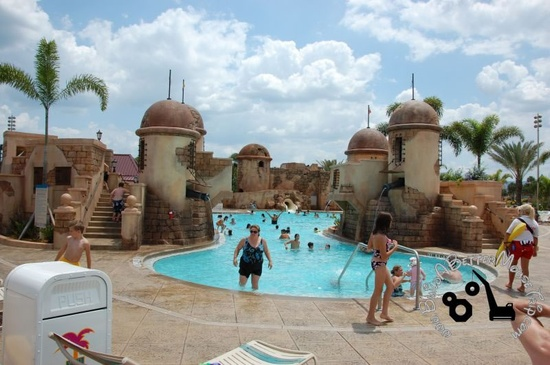 Fuentes del Morrow Port Royale Feature Pool at Disney's Caribbean Beach Resort - a moderate hotel at Disney World. www.buildabetterm...