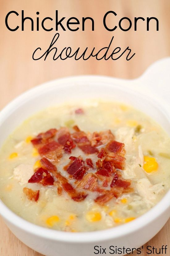 Chicken Corn Chowder Recipe from SixSistersStuff.com.  The perfect warm soup for a cold day!  We never have any leftovers of this recipe. #recipe #food #soup #chicken