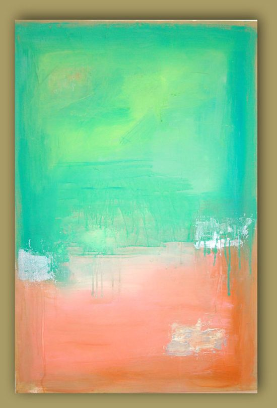 SOLD Seafoam Peach Abstract Painting Original Large Art by orabirenbaum, $245.00