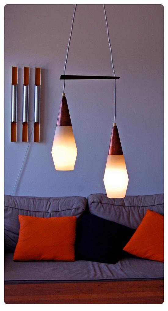 Danish lamps. Copper, white plastic. via Etsy.