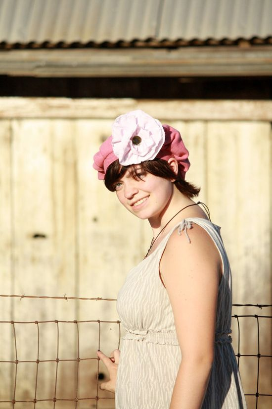 Vegan Romantic Rose Pink Cotton Upcycled Hat by Geminivintagestore, $35.00 #veganfashion #sustainablefashion #pinkhat #pinkberet #cottonhat #shabbyflower #upcycledhat