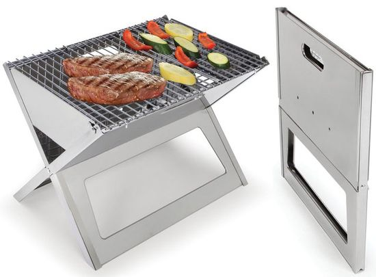 """Fold Flat Grill.  Less than 1"""" thick when folded, it unfolds to 17 3/4"""" L x 13"""" W x 13"""" H, ideal for convenient charcoal or hardwood grilling at picnics, beaches, or homes."""