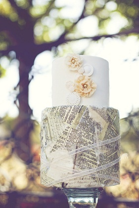 Vintage newsprint wedding cake