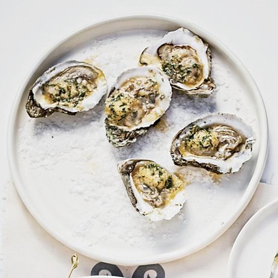 Grilled Oysters with Tabasco-Leek Butter // More Mollusk Recipes: www.foodandwine.c... #foodandwine
