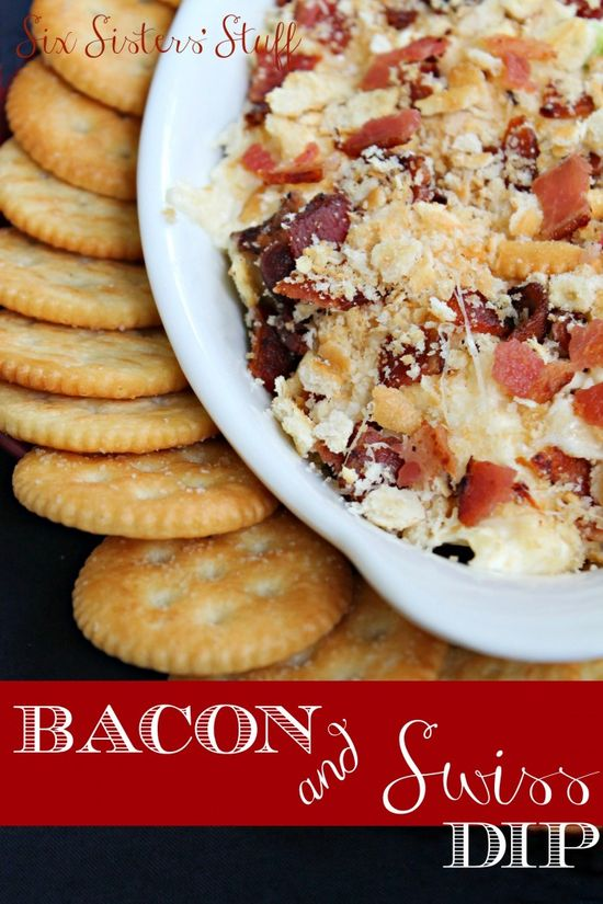 Hot Bacon & Swiss Dip from SixSistersStuff.com.  The perfect snack for your holiday parties.  Watch out...it is so addicting! #recipes #dip #thanksgiving #christmas #food