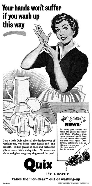 Don't let your hands suffer - use Quix! #vintage #soap #1950s #ad #homemaker #housewife #housework